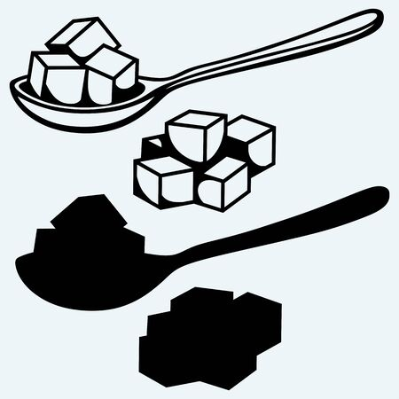 sugar cube: Refined white sugar, spoon. Isolated on blue background. Vector silhouettes