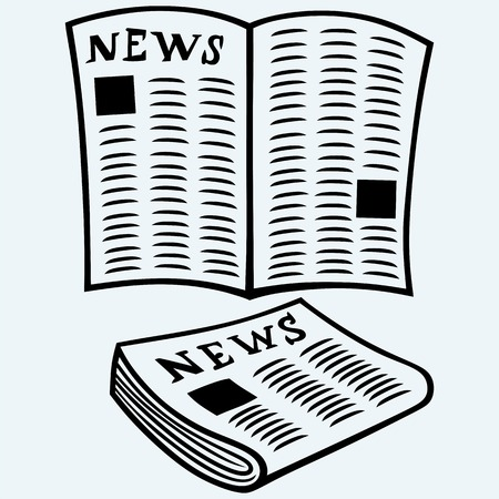 gazette: Newspaper, news. Isolated on blue background. Vector silhouettes