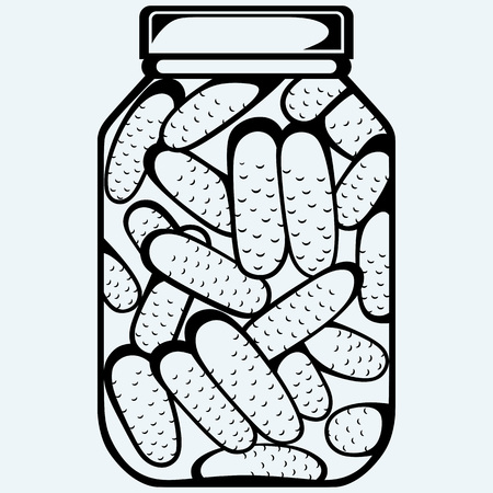 preserved: Pickles bank. Preserved cucumbers in a jar. Isolated on blue background. Vector silhouettes Illustration