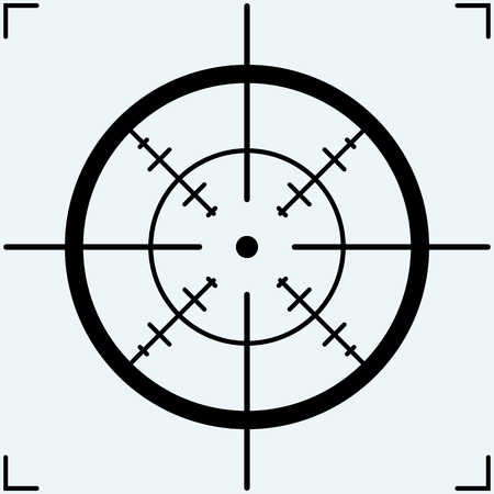 Crosshair, icon. Isolated on blue background. Vector silhouettes