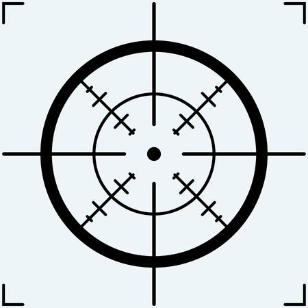 Fadenkreuz, Symbol. Isoliert auf blauem Hintergrund. Vector Silhouetten