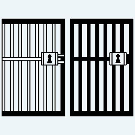 Gefängnis, Gefängnis. Isoliert auf blauem Hintergrund. Vector Silhouetten