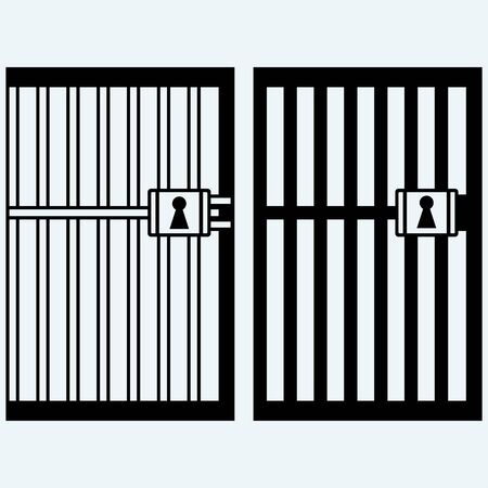 Gevangenis, de gevangenis. Geïsoleerd op een blauwe achtergrond. vector silhouetten