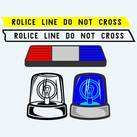 flasher: Siren set. Police tape, flasher or ambulance. Isolated on blue background. Vector silhouettes