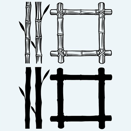 frame design: Frame of bamboo. Isolated on blue background. Vector silhouettes