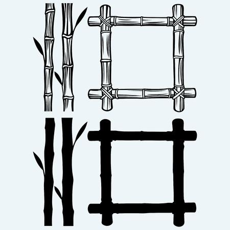 marco madera: Marco de bamb�. Aislado en el fondo azul. siluetas del vector Vectores