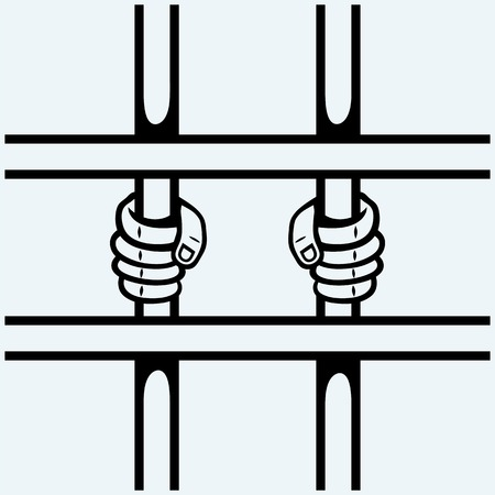 incarcerated: Hands of the prisoner on lattice. Isolated on blue background. Vector silhouettes