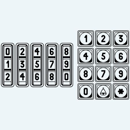 numerical code: Numerical code lock, button. Isolated on blue background. Vector silhouettes Illustration