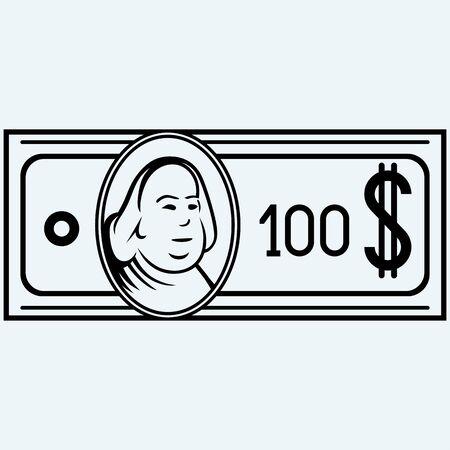 hundred dollar bill: Hundred dollar bill. Isolated on blue background. Vector silhouettes Illustration