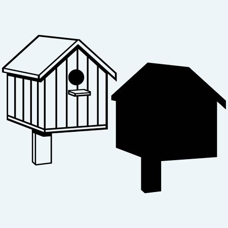 nesting box: Bird houses, nesting box. Isolated on blue background. Vector silhouettes Illustration