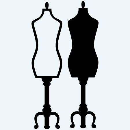 upmarket: Tailors mannequin. Isolated on blue background. Vector silhouettes Illustration