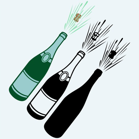 toasting wine: Close-up of champagne explosion. Isolated on blue background. Vector silhouettes Illustration