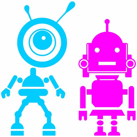 cute guy: Two cute robots, girl and guy. Abstract image of a fictional. Isolated on blue background. Vector silhouettes