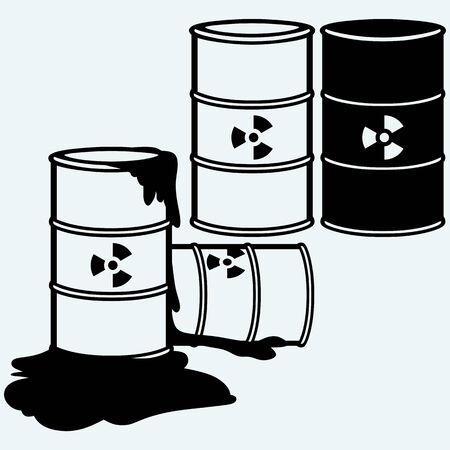metal barrel: Metal containers for storage of toxic substances. Environment protection. Isolated on blue background. Vector silhouettes Illustration