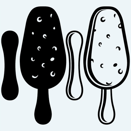 choc: Ice cream in a black and white chocolate. Isolated on blue background. Vector silhouettes