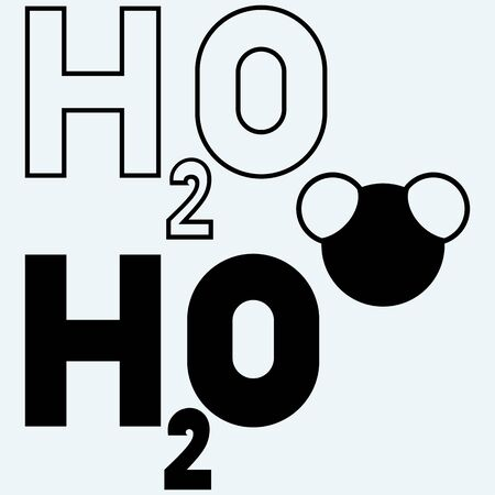 h2o: H2O symbol. Isolated on blue background. Vector silhouettes