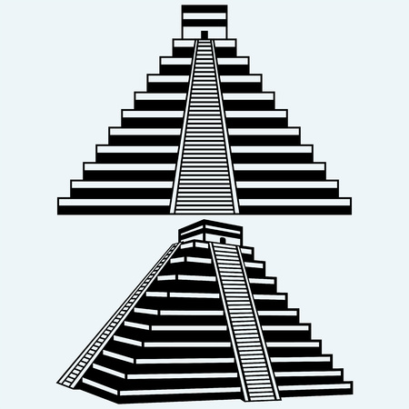 Pyramids in central mexico. Isolated on blue background. Vector silhouettes