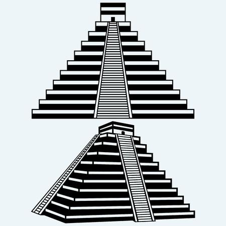 Pyramiden in Zentral-Mexiko. Isoliert auf blauem Hintergrund. Vector Silhouetten