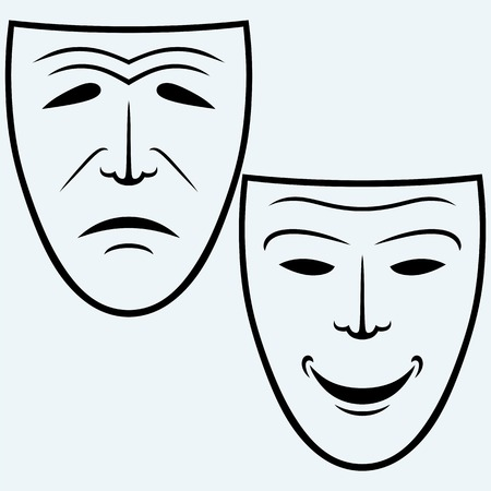 Comedy and Tragedy theatrical mask. Isolated on blue background. Vector silhouettes