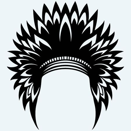 indian headdress: Native american indian headdress. Isolated on blue background. Vector silhouettes Illustration