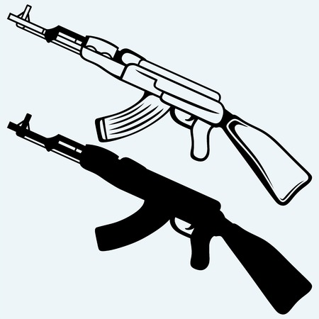 assault: Assault rifle ak47. Isolated on blue background. Vector silhouettes Illustration