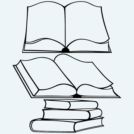 textbooks: School textbooks. Isolated on blue background. Vector silhouettes