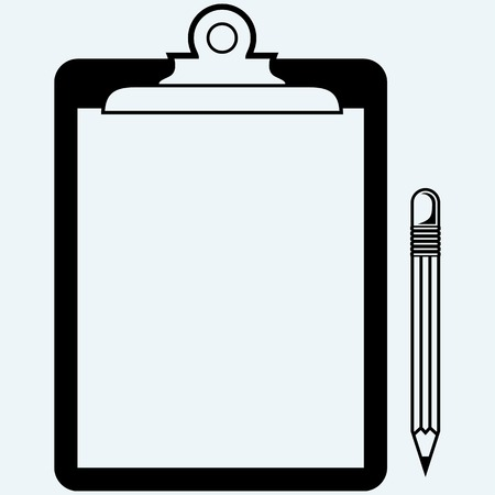 quality check: Quality Check. Clipboard blank sheet of paper and pencil. Isolated on blue background. Vector silhouettes Illustration