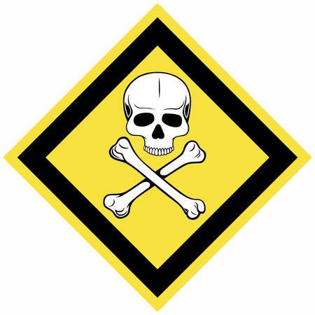 Skull And Crossbones Symbol Warning Sign Isolated On Blue