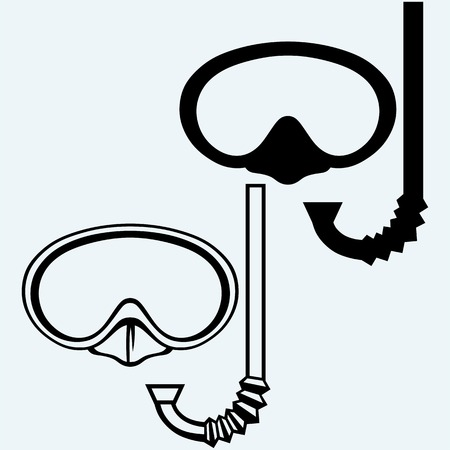 snorkelling: Diving goggles with snorkel. Isolated on blue background. Vector silhouettes