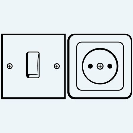 light socket: Single light switch and socket. Isolated on blue background. Vector silhouettes
