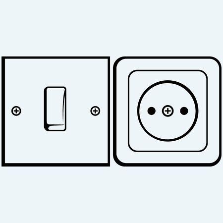 enchufe de luz: Un solo interruptor de la luz y el zócalo. Aislado en el fondo azul. siluetas del vector Vectores