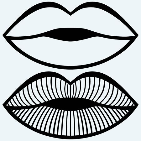 woman open mouth: Passionate female lips. Isolated on blue background. Vector silhouettes