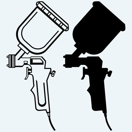 Waterpistool. Geïsoleerd op een blauwe achtergrond. vector silhouetten Vector Illustratie