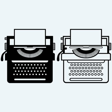 scriptwriter: Typewriter. Isolated on blue background. Vector silhouettes