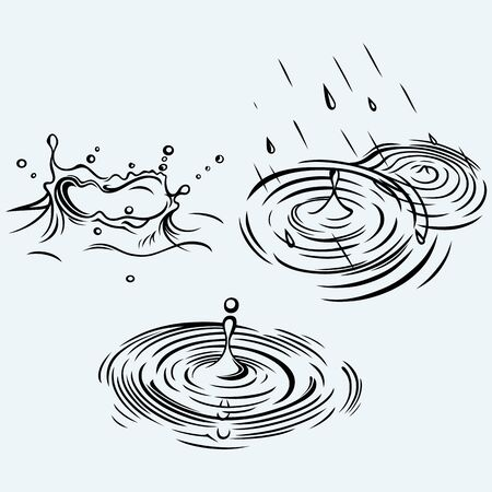 water ripple: Rain drops in the water. Isolated on blue background. Vector silhouettes Illustration