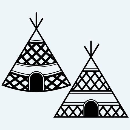 candid: Indian tepee. Isolated on blue background. Vector silhouettes Illustration