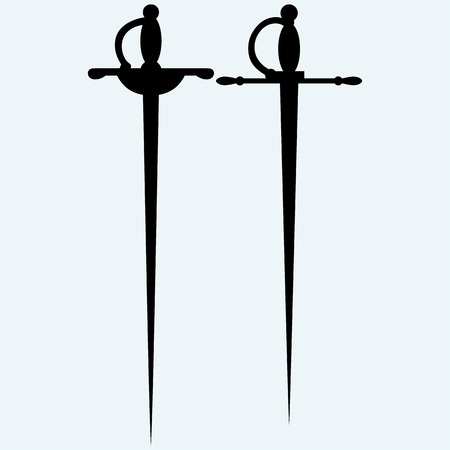 excalibur: Two saber. Isolated on blue background. Vector silhouettes Illustration