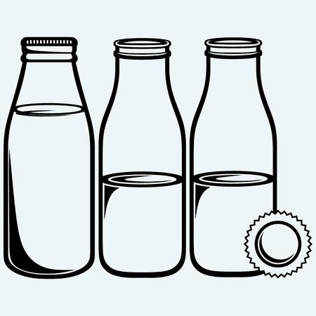 Establecer la botella de leche. Aislado en el fondo azul. siluetas del vector Ilustración de vector