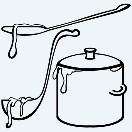 ladle: Hot soup. Pan with a ladle. Isolated on blue background. Vector silhouettes Illustration