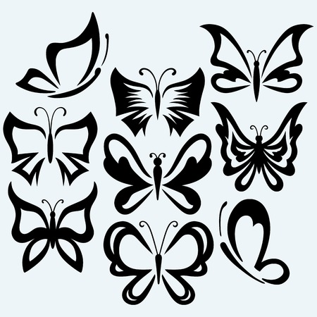 contours: Set symbol butterflies. Isolated on blue background. Vector silhouettes