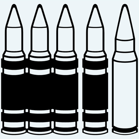 m16 ammo: Live ammunition and bullets. Isolated on blue background. Vector silhouettes