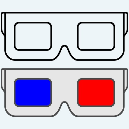 3 d glasses: 3-D Glasses, symbol. Isolated on blue background. Vector silhouettes Illustration