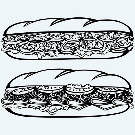 Sub kanapki z kiełbasą, serem, sałatą i pomidorem. Pojedynczo na niebieskim tle. Vector sylwetką