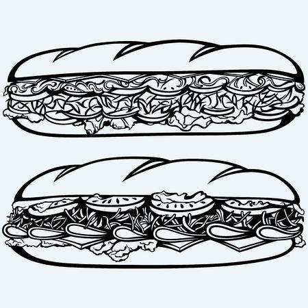 Sub Sandwich met worst, kaas, sla en tomaat. Geïsoleerd op een blauwe achtergrond. vector silhouetten