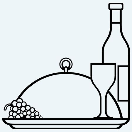 deli: Grapes, bottles and glasses of wine on round tray. Isolated on blue background. Vector silhouettes Illustration