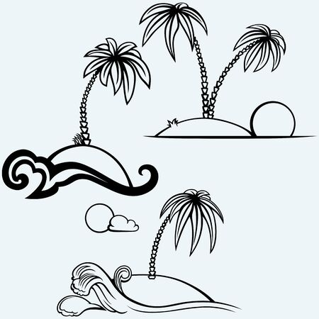 islet: Tropical islands with palm trees. Isolated on blue background. Vector silhouettes Illustration