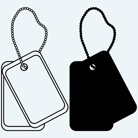 us air force: Dog tags. Isolated on blue background. Vector silhouettes