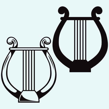 lyra: Lyre icon simple silhouettes