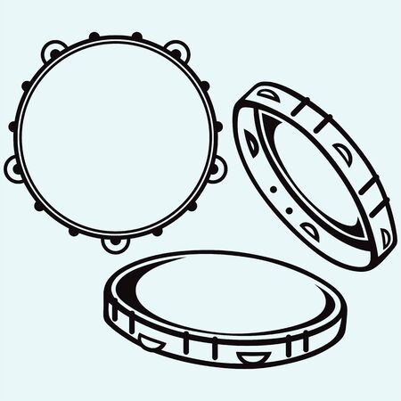 pandero: Tambourine with nobody holding silhouettes Vectores