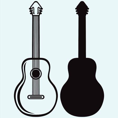 rosewood: Guitar isolated on white background Illustration